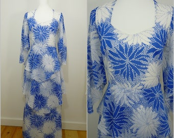 VINTAGE 1970s Bohemian White Blue Spot Bursting Op art Flower Retro Maxi  Dress UK 10 FR 38/ Romantic/ Floaty Floral / Atomic Print