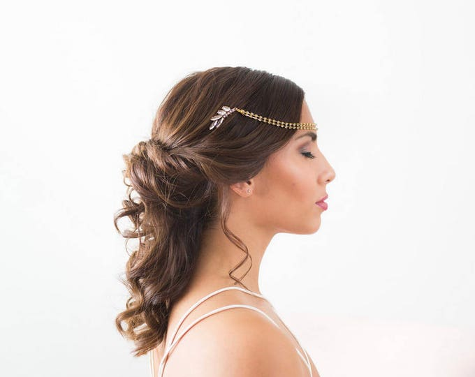Art Deco Draped Headpiece, Gold bridal hair chain, Gold Forehead Piece, Draped Hair piece, wedding chain headpiece, crystal forehead chain