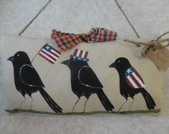 Primitive Patriotic Hand Painted Folk Art Crow Parade Wall Hanging Pillow Tuck