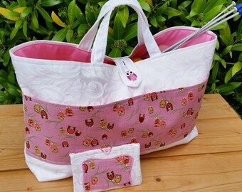 REDUCED! Large White Knitting Bag with Little Owls Pocket and Pink Lining, FREE Mini Sewing Kit in Matching Case