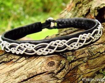 HUGINN Sami Viking Bracelet | Lapland Black Leather Bracelet with Pewter Braid and Antler Closure | Custom Handmade to Your Size and Color