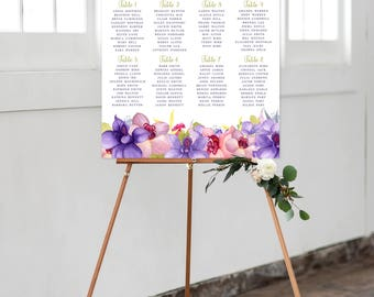Seating Chart on Foam Core - Wild Orchids (Style 0032)