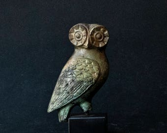 Owl Metal Sculpture, Ancient Greece Art Sculpture, Museum Quality Art, Greek Art, Goddess Athena Symbol, Bird of Wisdom, Metal Bird
