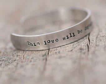 Stamped aluminium cuff bracelet // Clipping lyric // READY TO SHIP
