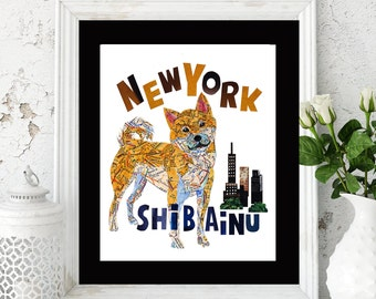 Map dog SHIBA INU dog/SHIBA Art Print/Shiba inu Art Print