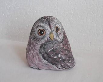 Hand Painted Stone Owl Feather Bird . River rock Artwork. Home Garden Decor. 3D animal. READY TO SHIP