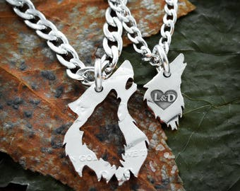Wolf Couples Necklaces with custom initials engraved in a heart, His and Her Gift, handcrafted half dollar, hand cut coin