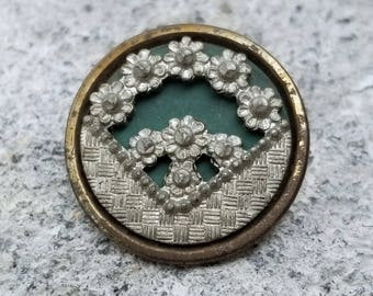Antique Floral Picture Coat Button ~ Deep V shaped Wedge of Pewter Flowers and Basket Weave Pictorial on Green Painted Metal ~ 7/8 inch 23mm