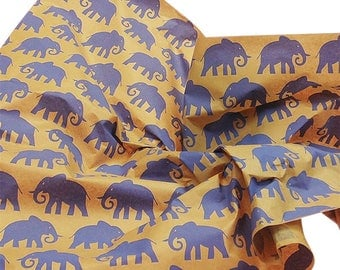 "Blue-Purple Elephants on Kraft Brown Tissue Paper Gift Wrapping 20""x30"" Sheets (Free Shipping!)"