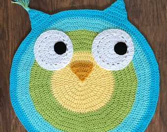 Crochet Rug - EASY CROCHET PATTERN - Crochet Owl Rug - Nursery Rug Pattern - Owl Nursery Rug - Crochet Mat - by Deborah O'Leary Patterns