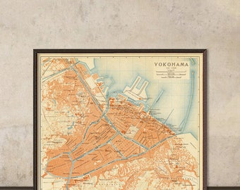 Yokohama map - Old map print  - 横浜マップ