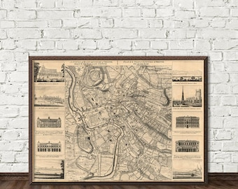 Bristol map - A survey of the city of Bristol  -  Old map of Bristol fine print