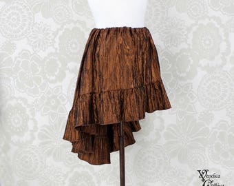 "Steampunk High Low Mini Cecilia Skirt -- Copper Crinkle Taffeta -- Ready to Ship -- Best Fits Up To 45"" Waist"