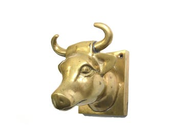 Vintage Brass Steer Hook Steer Wall Hook Bull Apron Hanger Farmhouse Decor Cow Towel Hook Cow Hat Hook