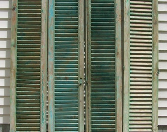 vintage wood shutters,mediterranean shutters,tall four panels,chippy blue green paint,old reclaimed salvage window shutters,architectural 7