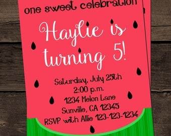 Watermelon Summer Birthday Invitation Digital Print Your Own