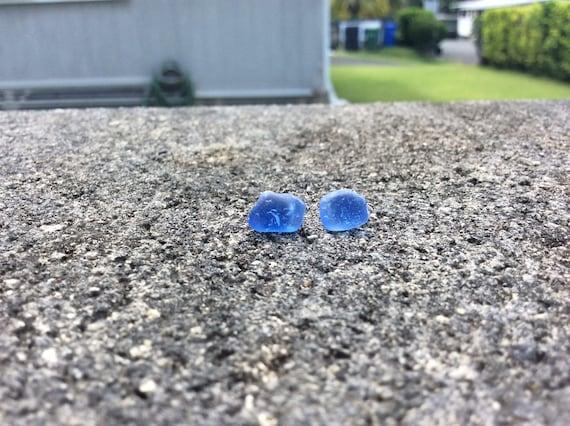 Surf Tumbled Cornflower Blue Seaglass Stud Earrings