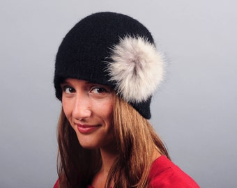 Wool Felt and Fur Winter Hat // Merino Wool // Recycled Fur // 1920's cloche // Retro // Women's Hat // Gifts for Her // Flapper Hat