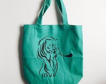 Tiger Tote Bag Screenprint Illustration in Teal