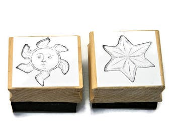 Unique Rubber Stamps - Sun and Star - Celestial - Paper and Ink Stamps - Stamps For Notebook - Rubber Stamping - Papercrafting