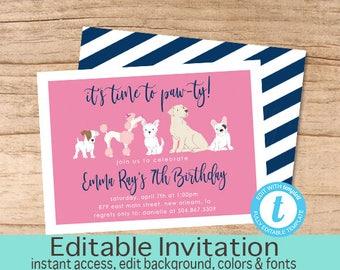 Dog Birthday Invitation, Time to paw-ty Invitation, Editable Birthday invite, Girl Dog Invitation, Puppy Dog Invitation, Instant Download