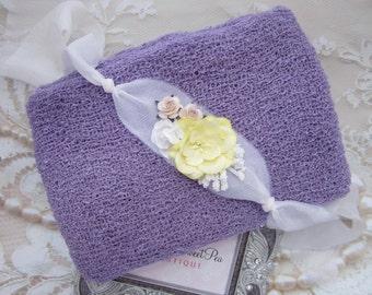Lilac Purple Knit Swaddle AND/OR White and Yellow Organic Silk Flower Tieback, newborns, Iris, baby, bebe fotografia, Lil Miss Sweet Pea
