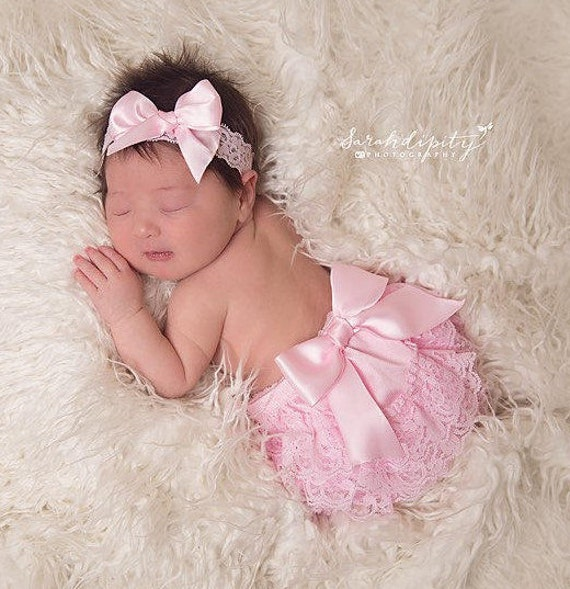 Pink Lace Diaper Cover Bloomers AND/OR Matching Satin Bow Stretch Lace Headband, newborn photos, Lil Miss Sweet Pea
