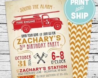 Printed Firefighter Birthday Invitations and Envelopes - Print and Ship Invitations