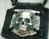 Pirates Wife Jewellery - WHITE Bronze Skull on Leather Necklace