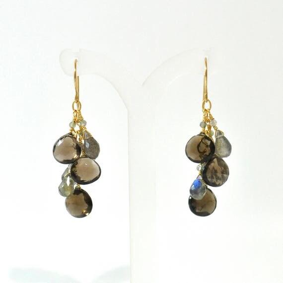 Smokey Quartz, Labradorite Earrings, Gray stone gold earrings, Labradorite gold earrings, brown stone earrings