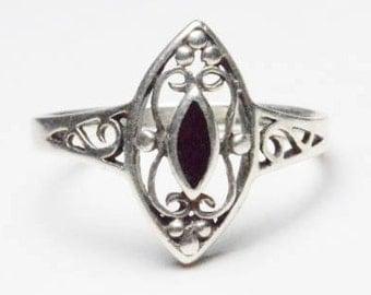 Vintage Sterling Silver Black Enamel Filigree Band Ring Size 6.75