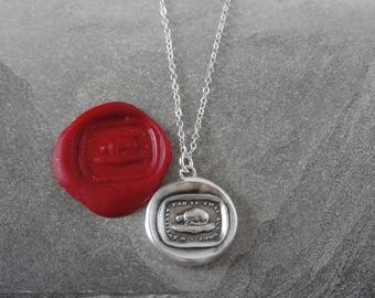 Cat Wax Seal Necklace - antique wax seal charm jewelry French motto Wake Not The Cat That Sleeps from RQP Studio