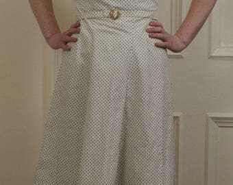 reproduction 1940s dress, lemon-white & blue polka dot with ruched sleeves (S)