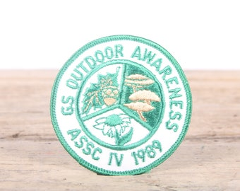 Vintage Scout Patch / GS Outdoor Awareness ASSC IV 1989 Patch / Girl Scout Patch / Boy Scout Patch / Grunge Patch