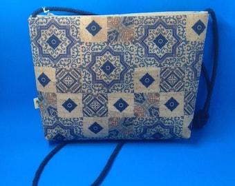 CORK Crossbody Bag - Tiles Natural Cork Print
