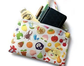 Animal Crossing New Leaf Isabelle Leatherette Faux Leather Zipper Pouch Bag with Fossil, fruit, insect, gems, pitfalls and more!