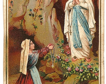 Our Lady of Lourdes & Saint Bernadette in Grotto with Pink Roses Antique French Holy Prayer Card Christian Catholic from Vintage Paper Attic