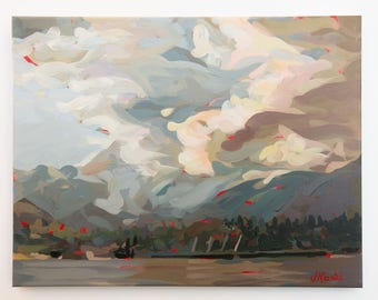 "Original Painting // North Vancouver Clouds no. 2 // 18"" x 14"" // Acrylic Paint on Canvas by Joanne Hastie"