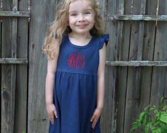 Patriotic Dress for Kids, 4th of July Dress, Monogram Dress, Girls Summer Dress, Personalized Dress