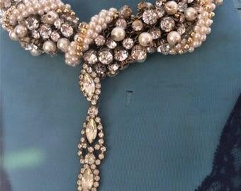 bridal wedding necklace rhinestones and pearls
