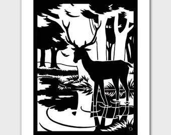 """Deer Print (Woodland Room Decor, Black and White Nursery, Silhouette Art) """"Stag & His Reflection"""" --  Fairy Tale Book Illustration"""