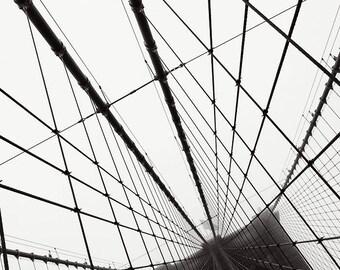 New York Brooklyn Bridge Black and White Photograph Print