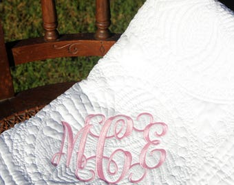 Monogram baby quilt | Etsy : baby quilts on etsy - Adamdwight.com
