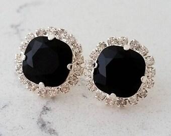Black crystal stud earrings, Bridal earrings, black rhinestone halo stud earrings, Bridesmaid gift, silver or gold, swarovski stud earring