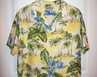 Vintage Ladies Tropical Hawaiian Print Silk Blouse by Tommy Bahama Medium Only 10 USD