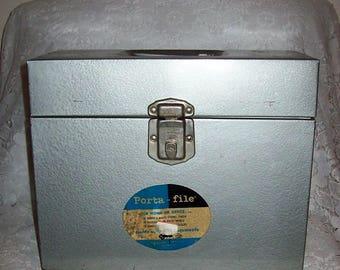 Vintage Porta File Organizer Gray Metal Office Industrial Storage Box w/ Key Only 9 USD