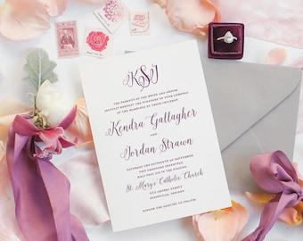 Monogram Wedding Invitation Printable, Customize Colors, Printable Wedding Invitation, Classic Wedding, Monogram, Initials, Calligraphy