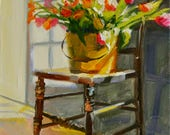 Art Print of TULPE, tulips, sunlit room, spring painting, Classic still life, oil on canvas, painting, art,gift for mom,  Christmas gift