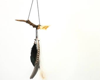 feather and antler wall hanging ~ dreamcatcher ~ folk boho hygge nature peacock woodland bohemian woodland spiritual home yoga meditation