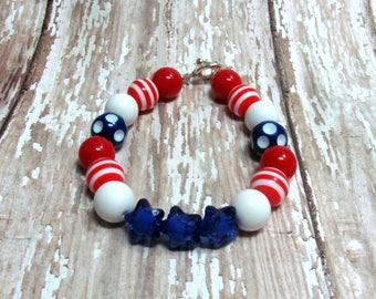 Patriotic Bubble Gum Bracelet, Patriotic Bracelet, Independence Day, Fourth of July Bracelet, Red White and Blue Bracelet, Star Bracelet